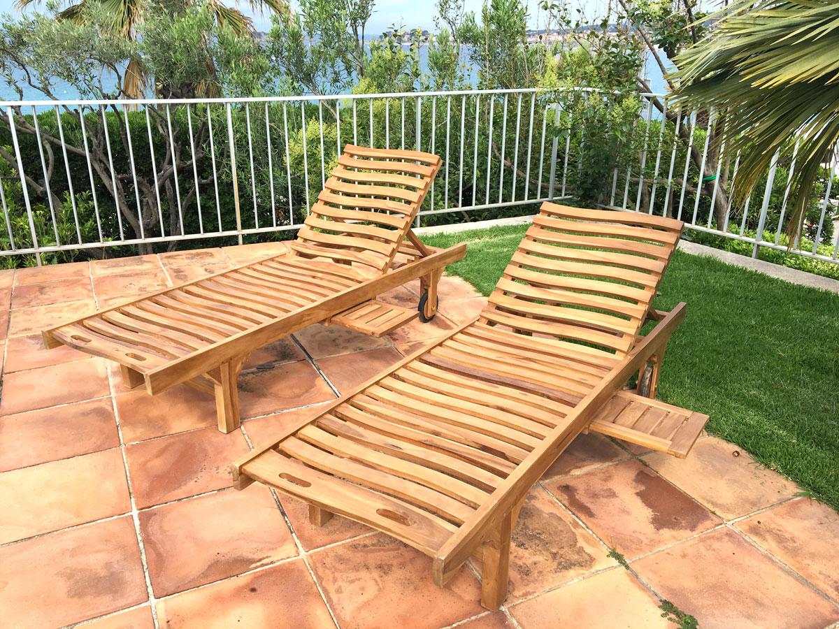 Bains de soleil en teck DEWI décoration mobilier de jardin Sanary